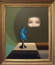 Le temps d'un regard. Huile sur toile signé PATRICK  MUNERET  . Cadre:78x67 cm