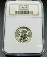 1944 D 25C Washington Quarter Silver WW2 Coin NGC MS67 GEM BU Brown label