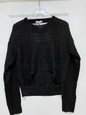 Women's Teenbell Black Crop Open Weave Sweater Open Back Size Large