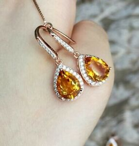 3 Ct Pear Cut Yellow Citrine Halo Drop & Dangle Earrings 14k Rose Gold Over