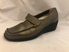 WOLKY Size 38 Bronze Metallic Mary Jane Wedge Shoes