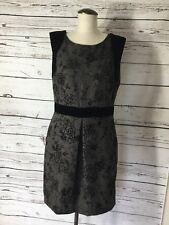 Ellen Tracy Sz 12 Black Tan Floral Velvet Brocade Herringbone Lined Dress EXC