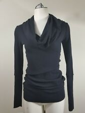 Splendid Thermal Sweater Womens Size XS Black Long Sleeve Waffle Knit Cowl Neck