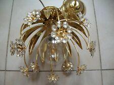 Ancien lustre luminaire plafonnier feuilles fleurs pampilles en verre de 30 cm