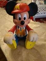 Vintage Walt Disney Baseball Mickey Mouse Rubber Doll Figure Jointed Pose