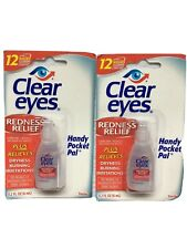 NIP Clear Eyes Drops Redness Relief Lot Of 2 Pocket Size Dry Burning Irritation