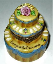 LIMOGES FRANCE BOX - CONGRATULATIONS CAKE & BISQUE FLOWERS -ANNIVERSARY- WEDDING