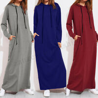 Womens Summer Casual Long Sleeve Hoodie Hooded Jumper Pockets Pullover Dress