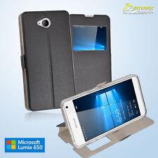 Flip View Stand Slim Case Cover For Microsoft Nokia Lumia 650 + Free Screen Guar