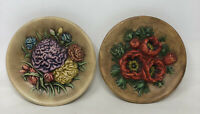 Pair Of Vintage 1970s Ceramic Wall Hanging Flower Plaques / Plates MCM