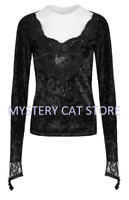 New PUNK RAVE Long Sleeve Gothic Black Lace Velvet Top Blouse T-477 FAST POSTAGE