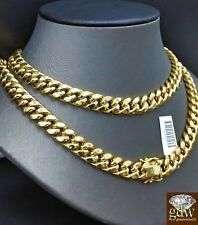 REAL 10K Yellow Gold Cuban Link Chain Necklace 11mm 24 Inch Box Clasp Mens, Rope