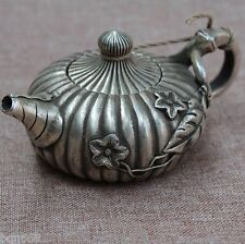 OLD CHINA WHITE BRASS CARVING MORNING GLORY PUMPKIN WINE POT TEAPOT