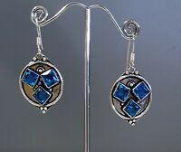 925 Sterling Silver Overlaid Faceted Blue Quartz Dangle Earrings