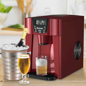 2 In 1 Ice Maker Water Dispenser Countertop 36Lbs/24H LCD Display Portable Red