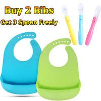 2x Baby Silicone Bibs Feeding Bib Kids Roll up Food Catcher Pocket + 3x Spoons