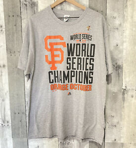 Majestic SF Giants 2014 World Series Champions ORANGE OCTOBER Tee Men's XL NEW