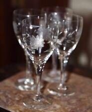 3 Crystal Cordial Aperitif Liqueur Glassware Etched Daisy Floral Tulip Stem
