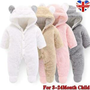 Bear Hooded Romper Jumpsuit Bodysuit Clothes Outfits Newborn Baby Boy Girl Kids!