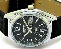 citizen automatic mens steel black dial vintage 8200 japan wrist watch run