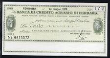 BANCA CREDITO AGRARIO FERRARA 24/6/1976 AS.PROV.AGRICOLTORI/PAPER MONEY FDS/UNC