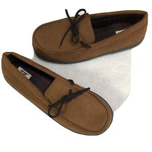 Dearfoam Slippers Size L 11-12 Mens Brown Moccasin Memory Foam Indoor Outdoor DF