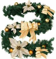 6ft / 9ft Christmas Garland Pre-Lit with Lights for stair Fireplace Decorations