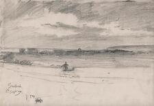 GEORGE CHARLES HAITE Victorian Pencil Drawing 1894 LANDSCAPE SEAFORD SUSSEX