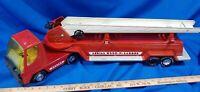 "Vintage 1970's Nylint Aerial Hook-N-Ladder Fire Truck w/ Trailer 30"" Toy Metal"