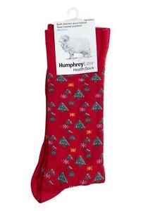 Humphrey Law Health Sock - Red Christmas Xmas Design - Soft Merino Wool - Small