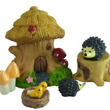 Tree House & Hedgehogs Fairy Garden Miniature Set by Mowbray Miniatures (6 pcs)