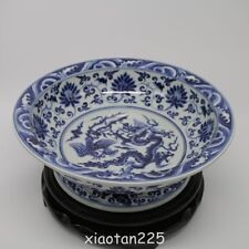 Chinese Blue and white dragon phoenix Porcelain Fruit tray Plate   W7090