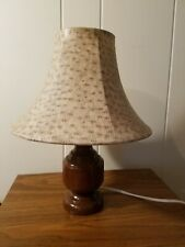 Small Wood Table Lamp with Decorative Shade
