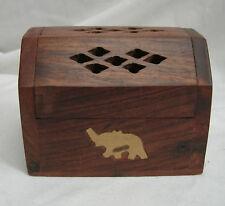 Wood & Brass Elephant Inlay pot pourri/Encens Cône Box-Bnwt