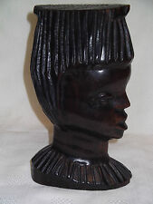 Vintage Hand Carved Hardwood African Female Tribal Art Figure / Sculpture Bust