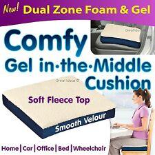 "3"" Pressure Relief Cushion Fleece Wheelchair Gel Seat Car Chair Back Support"