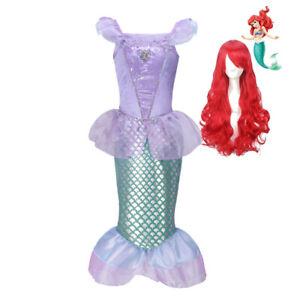 Girl Little Mermaid Fancy Dress Up Kids Wig Tulle Princess Costume