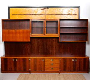 Vintage Brazilian Rosewood Wall Unit Modular Triple Bookcase Cabinet McIntosh