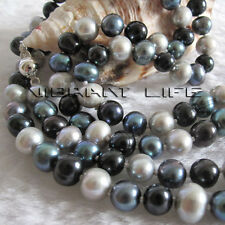 "34"" 6-8mm Multi Color Freshwater Pearl Necklace Gray Peacock Black Jewelry"
