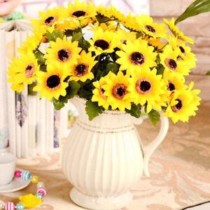 7&9 Head Design Silk Sunflower Artificial Bouquet Home Wedding Floral Decor CN