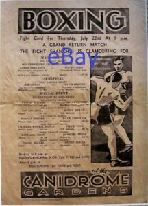 1937 Andre Shelaeff CANIDROME Gardens Boxing Fight Card poster - Shanghai, China