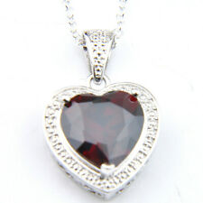 Lovely Heart Fire Red Garnet Gemstone Silver Charming Heart Necklace Pendants