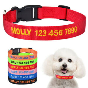 Nylon Personalised Dog Collar Custom Embroidered ID Name Puppy Collars XS S M L