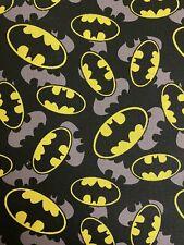 DC Comic BATMAN Logo Superhero 100% Cotton Fabric Material 50 X 55cm