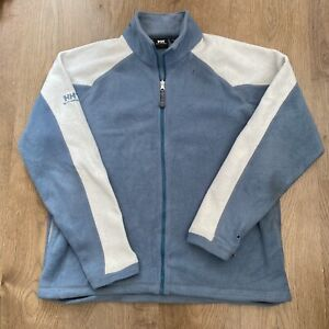 Helly Hansen Fleece Mens Blue / White Full Zip Up Retro Vintage Jacket - L Large