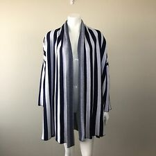 ALPHA 60 Long Knit Navy Ivory Stripes Open Cardigan Jacket Outerwear Size M .AY2