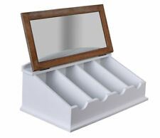 Besteckkiste White Cutlery Tray With Glass Lid Wooden Box Cutlery Storage