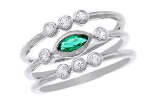 14k White Gold Over Silver Lab-Created Emerald Triple Band Ring