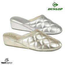 Dunlop SYBILL S900 Quilted Indoor Closed Toe Mule Slippers Gold PU