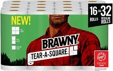 BRAWNY Tear-A-Square Paper Towels - White, Pack of 16, Double